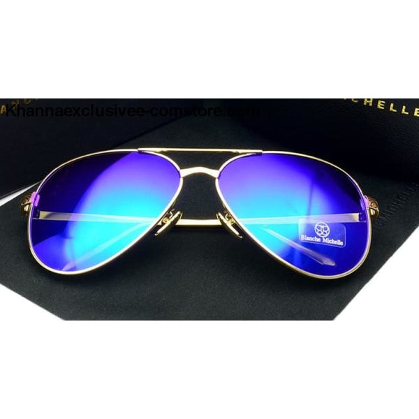 High Quality Women Polarized UV 400 Sunglasses Mirror Pilot Branded Designer Pink Lens Goggles - Gold frame Blue - High Quality Women