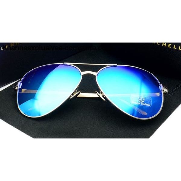 High Quality Women Polarized UV 400 Sunglasses Mirror Pilot Branded Designer Pink Lens Goggles - Sliver frame IceBlue - High Quality Women