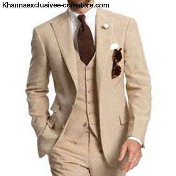 Mens Beige Three Piece Business Party Suits Peaked Lapel Two Button Custom Made Wedding Groom Tuxedos - Mens Beige Three Piece Business