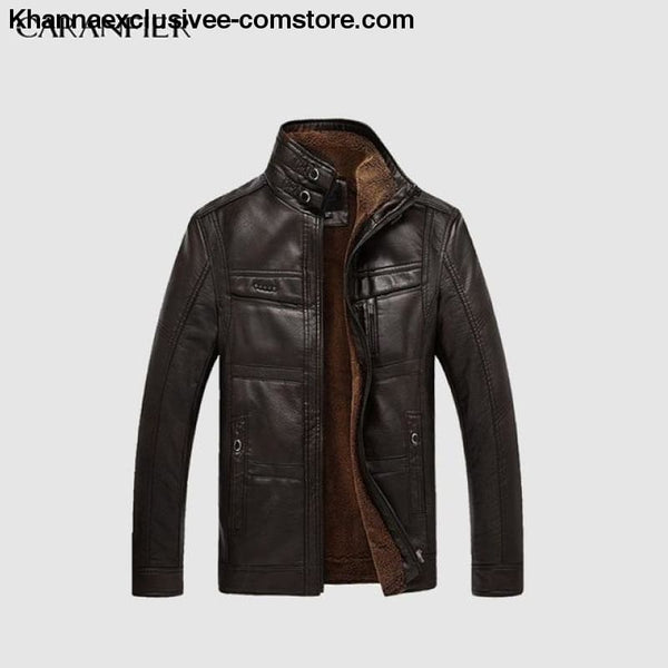 Mens Biker Leather Warm Motorcycle Zipper Top Quality Outerwear Jacket Coat - Black Coffee / 4XL - CARANFIER Mens Biker Leather Winter Warm