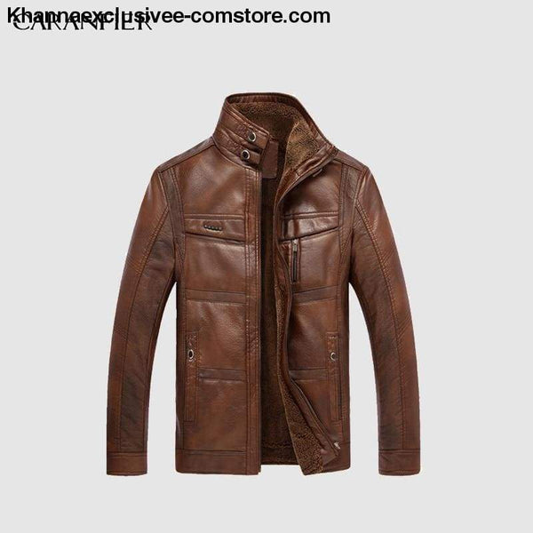Mens Biker Leather Warm Motorcycle Zipper Top Quality Outerwear Jacket Coat - CARANFIER Mens Biker Leather Winter Warm Jackets