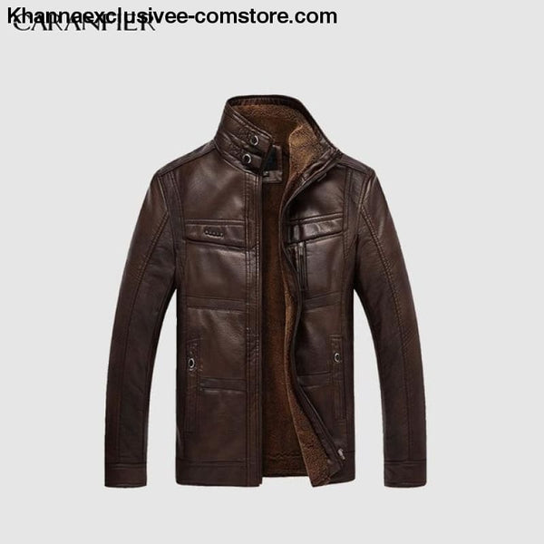Mens Biker Leather Warm Motorcycle Zipper Top Quality Outerwear Jacket Coat - Deep Coffee / 4XL - CARANFIER Mens Biker Leather Winter Warm