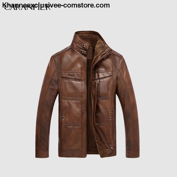 Mens Biker Leather Warm Motorcycle Zipper Top Quality Outerwear Jacket Coat - Light Coffee / 4XL - CARANFIER Mens Biker Leather Winter Warm