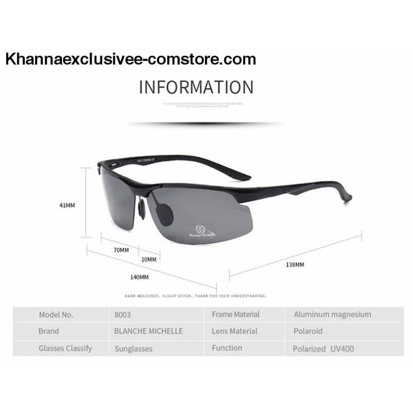 Mens Branded Polarized Sports Driving Night Vision Goggles Fishing UV 400 Rimless Sunglasses - Aluminum Magnesium Men Polarized Sports