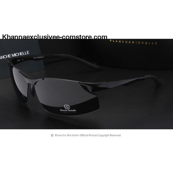Mens Branded Polarized Sports Driving Night Vision Goggles Fishing UV 400 Rimless Sunglasses - black black - Aluminum Magnesium Men