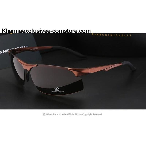 Mens Branded Polarized Sports Driving Night Vision Goggles Fishing UV 400 Rimless Sunglasses - brown brown - Aluminum Magnesium Men