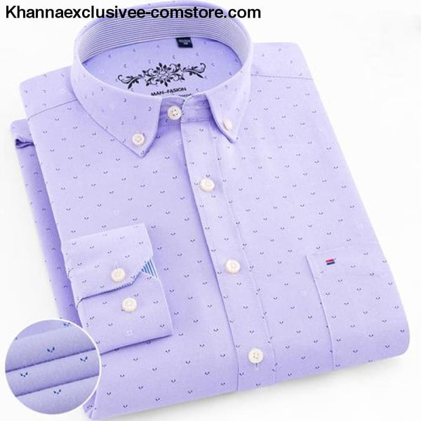 Mens Long Sleeve Solid Shirt with Chest Pocket High-quality Tops Button Down Shirts - 1006-31 / XXXL - Mens Long Sleeve Solid Oxford Dress