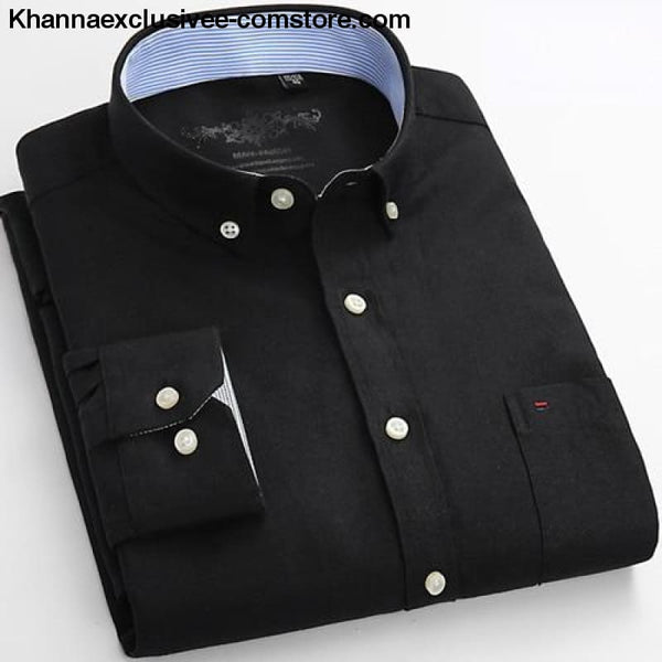 Mens Long Sleeve Solid Shirt with Chest Pocket High-quality Tops Button Down Shirts - Black / M - Mens Long Sleeve Solid Oxford Dress Shirt