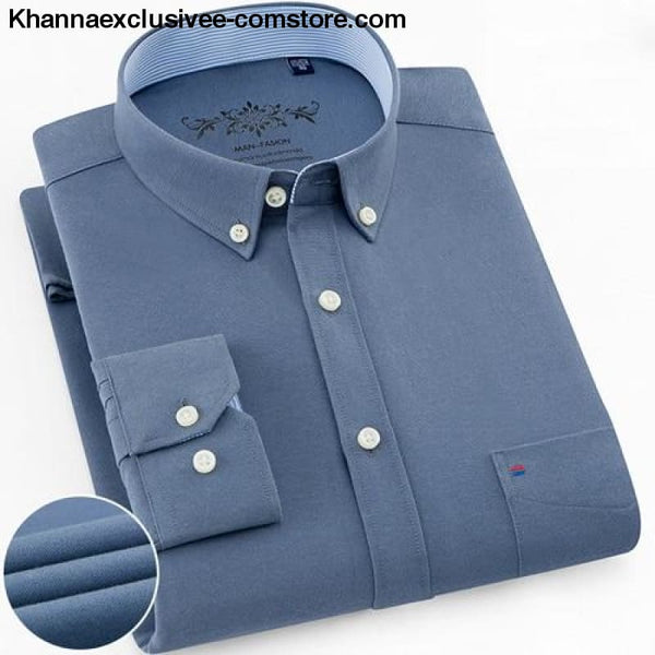 Mens Long Sleeve Solid Shirt with Chest Pocket High-quality Tops Button Down Shirts - Blue Grey / M - Mens Long Sleeve Solid Oxford Dress