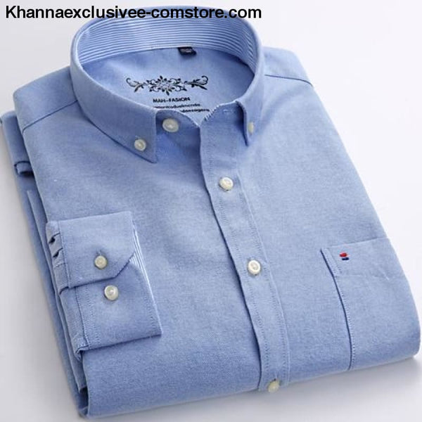 Mens Long Sleeve Solid Shirt with Chest Pocket High-quality Tops Button Down Shirts - Blue / M - Mens Long Sleeve Solid Oxford Dress Shirt
