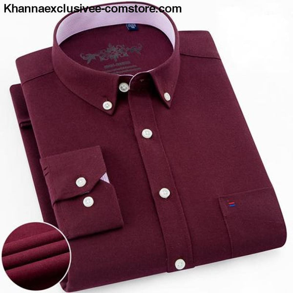 Mens Long Sleeve Solid Shirt with Chest Pocket High-quality Tops Button Down Shirts - Burgundy / M - Mens Long Sleeve Solid Oxford Dress