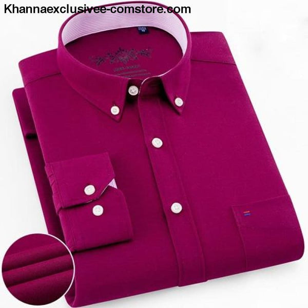 Mens Long Sleeve Solid Shirt with Chest Pocket High-quality Tops Button Down Shirts - Fuchsia / M - Mens Long Sleeve Solid Oxford Dress