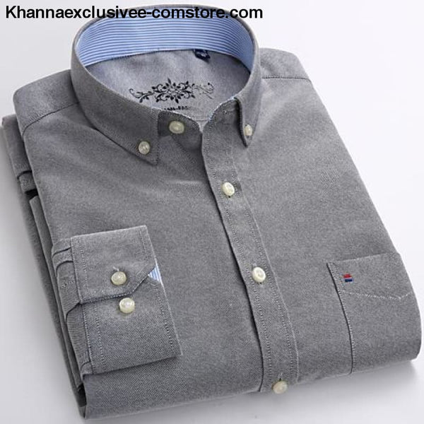 Mens Long Sleeve Solid Shirt with Chest Pocket High-quality Tops Button Down Shirts - Gray / M - Mens Long Sleeve Solid Oxford Dress Shirt