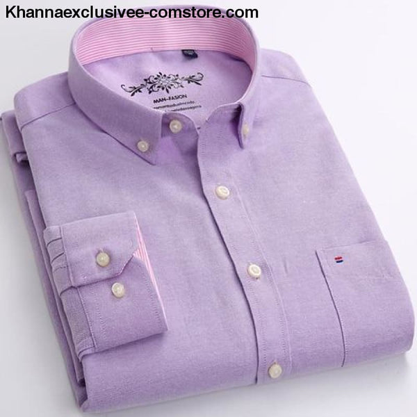 Mens Long Sleeve Solid Shirt with Chest Pocket High-quality Tops Button Down Shirts - Lavender / M - Mens Long Sleeve Solid Oxford Dress