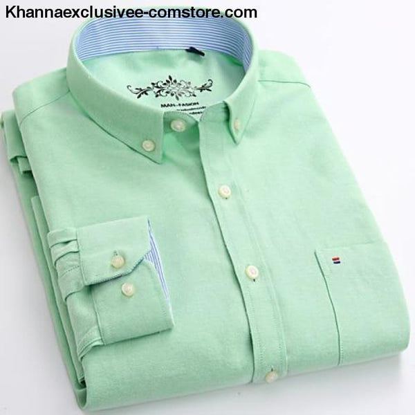 Mens Long Sleeve Solid Shirt with Chest Pocket High-quality Tops Button Down Shirts - Mint / M - Mens Long Sleeve Solid Oxford Dress Shirt