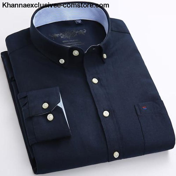 Mens Long Sleeve Solid Shirt with Chest Pocket High-quality Tops Button Down Shirts - Navy Blue / M - Mens Long Sleeve Solid Oxford Dress
