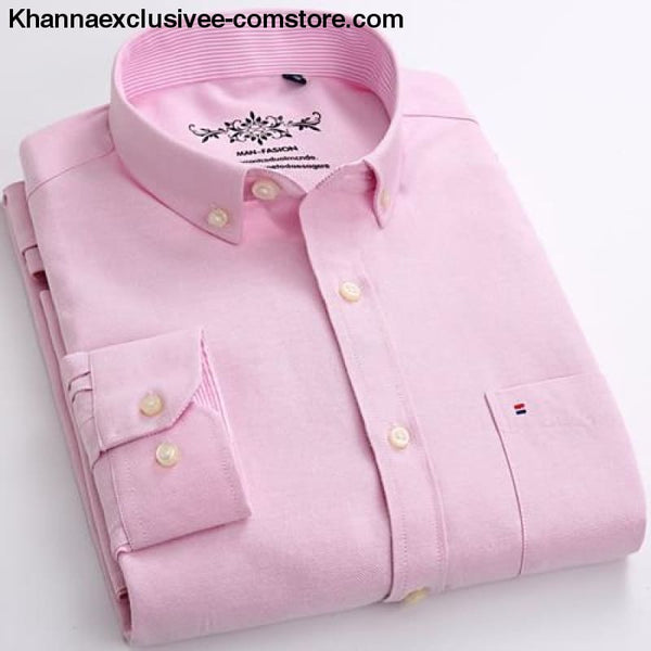 Mens Long Sleeve Solid Shirt with Chest Pocket High-quality Tops Button Down Shirts - Pink / M - Mens Long Sleeve Solid Oxford Dress Shirt