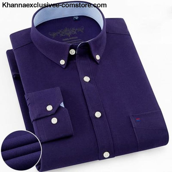 Mens Long Sleeve Solid Shirt with Chest Pocket High-quality Tops Button Down Shirts - Purple / M - Mens Long Sleeve Solid Oxford Dress Shirt