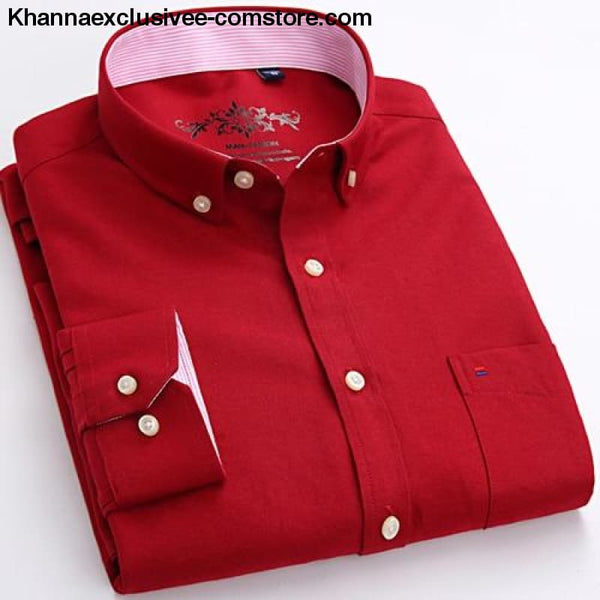 Mens Long Sleeve Solid Shirt with Chest Pocket High-quality Tops Button Down Shirts - Red / M - Mens Long Sleeve Solid Oxford Dress Shirt
