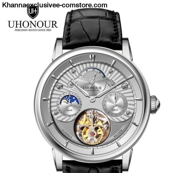 Mens Luxury Brand UHONOUR Tourbillon Sapphire 25 Jewels Mechanical Sea-gull Movement Wrist Watch - 3 - Mens Luxury Tourbillon Sapphire 25