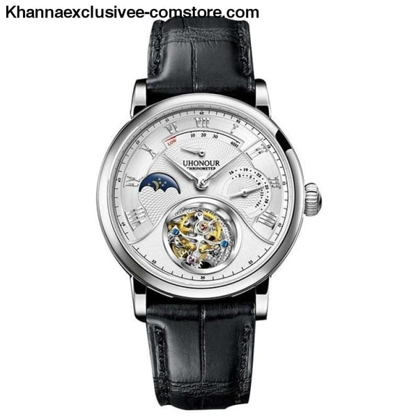 Mens Luxury Brand UHONOUR Tourbillon Sapphire 25 Jewels Mechanical Sea-gull Movement Wrist Watch - 5 - Mens Luxury Tourbillon Sapphire 25