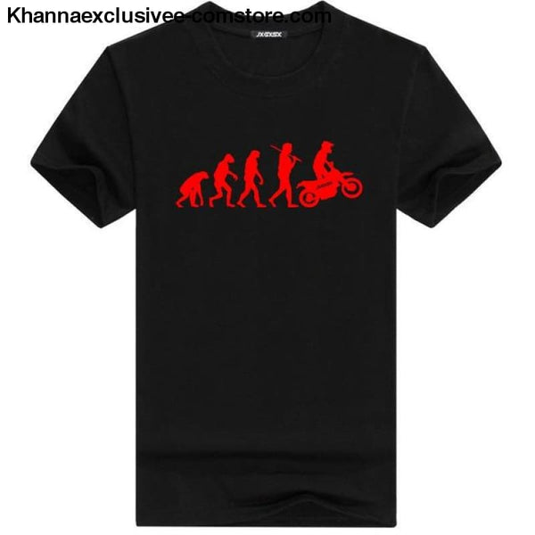 Mens MOTORCYCLE EVOLUTION T Shirt Summer Short Sleeve O-Neck Cotton Good Quality T-shirt - Black R / L - Mens MOTORCYCLE EVOLUTION T Shirt