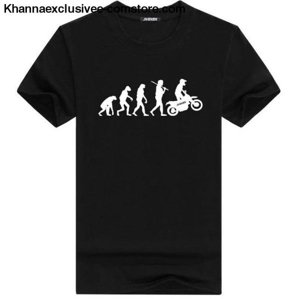 Mens MOTORCYCLE EVOLUTION T Shirt Summer Short Sleeve O-Neck Cotton Good Quality T-shirt - Black W / L - Mens MOTORCYCLE EVOLUTION T Shirt