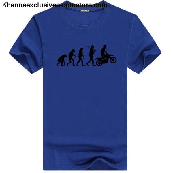 Mens MOTORCYCLE EVOLUTION T Shirt Summer Short Sleeve O-Neck Cotton Good Quality T-shirt - Blue B / L - Mens MOTORCYCLE EVOLUTION T Shirt