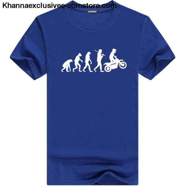 Mens MOTORCYCLE EVOLUTION T Shirt Summer Short Sleeve O-Neck Cotton Good Quality T-shirt - Blue W / L - Mens MOTORCYCLE EVOLUTION T Shirt