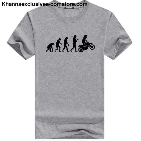 Mens MOTORCYCLE EVOLUTION T Shirt Summer Short Sleeve O-Neck Cotton Good Quality T-shirt - Gray B / L - Mens MOTORCYCLE EVOLUTION T Shirt