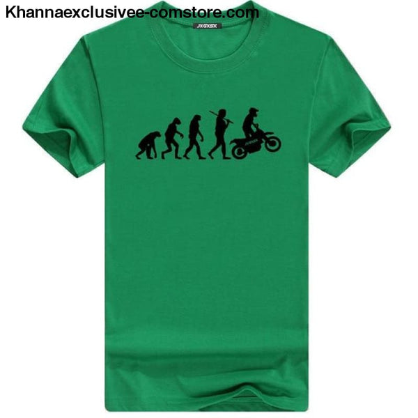 Mens MOTORCYCLE EVOLUTION T Shirt Summer Short Sleeve O-Neck Cotton Good Quality T-shirt - Green B / L - Mens MOTORCYCLE EVOLUTION T Shirt