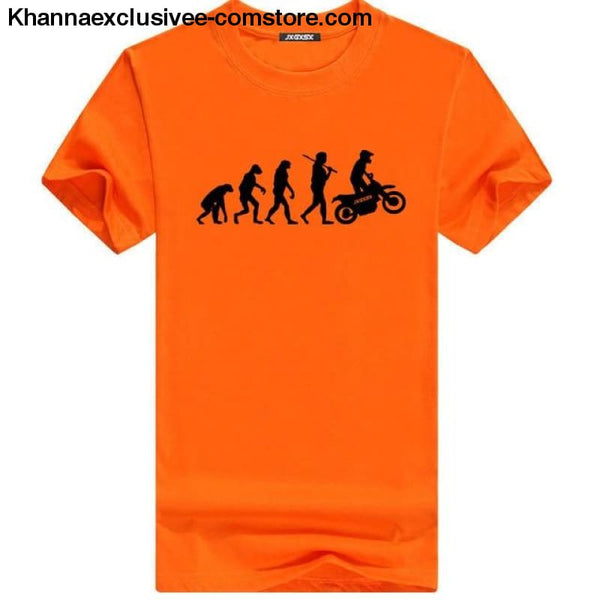 Mens MOTORCYCLE EVOLUTION T Shirt Summer Short Sleeve O-Neck Cotton Good Quality T-shirt - Orange B / L - Mens MOTORCYCLE EVOLUTION T Shirt