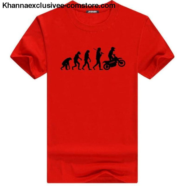 Mens MOTORCYCLE EVOLUTION T Shirt Summer Short Sleeve O-Neck Cotton Good Quality T-shirt - Red B / L - Mens MOTORCYCLE EVOLUTION T Shirt