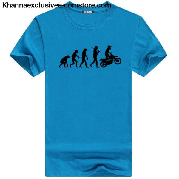 Mens MOTORCYCLE EVOLUTION T Shirt Summer Short Sleeve O-Neck Cotton Good Quality T-shirt - Sky B / L - Mens MOTORCYCLE EVOLUTION T Shirt