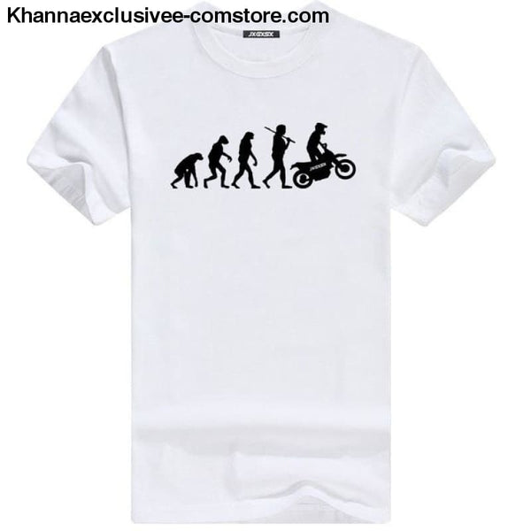 Mens MOTORCYCLE EVOLUTION T Shirt Summer Short Sleeve O-Neck Cotton Good Quality T-shirt - White B / L - Mens MOTORCYCLE EVOLUTION T Shirt