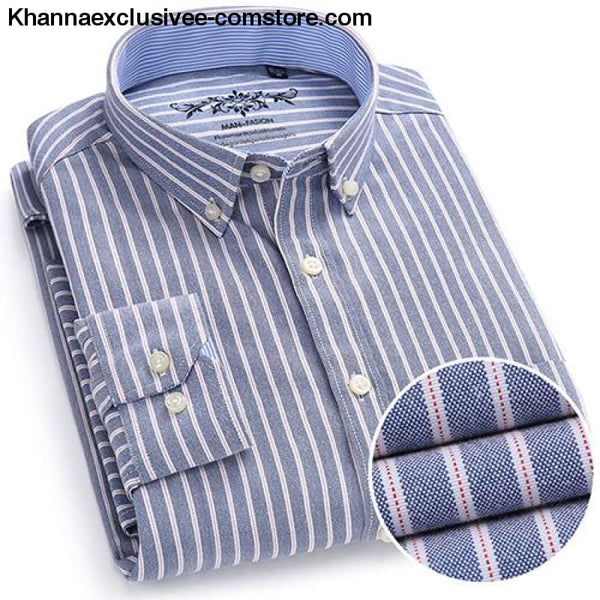 Mens Plaid Checked Button Chest Pocket Smart Casual Contrast Standard-fit Long Sleeve Shirt - 1006-19 / M - Mens Plaid Checked Oxford