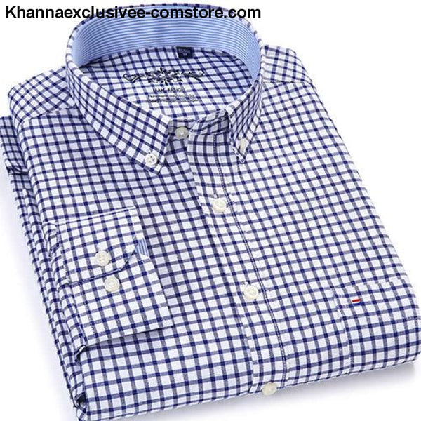 Mens Plaid Checked Button Chest Pocket Smart Casual Contrast Standard-fit Long Sleeve Shirt - 1006-26 / M - Mens Plaid Checked Oxford