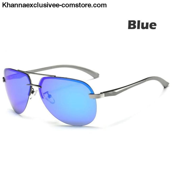 Mens Polarized Sunglasses Metal Alloy Driving Glasses UV 400 Protection Air Pilot Goggles - Blue - Mens Polarized Sunglasses Metal Alloy