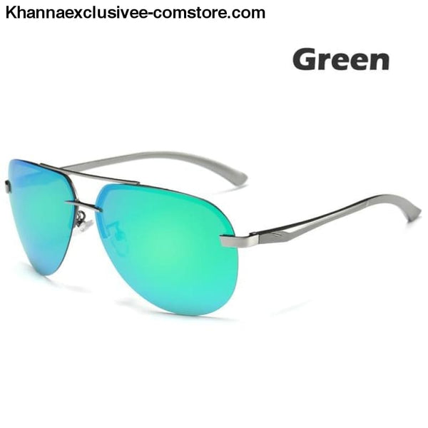 Mens Polarized Sunglasses Metal Alloy Driving Glasses UV 400 Protection Air Pilot Goggles - Green - Mens Polarized Sunglasses Metal Alloy