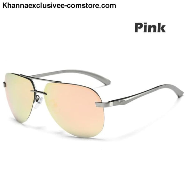Mens Polarized Sunglasses Metal Alloy Driving Glasses UV 400 Protection Air Pilot Goggles - Pink - Mens Polarized Sunglasses Metal Alloy