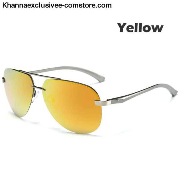 Mens Polarized Sunglasses Metal Alloy Driving Glasses UV 400 Protection Air Pilot Goggles - Yellow - Mens Polarized Sunglasses Metal Alloy