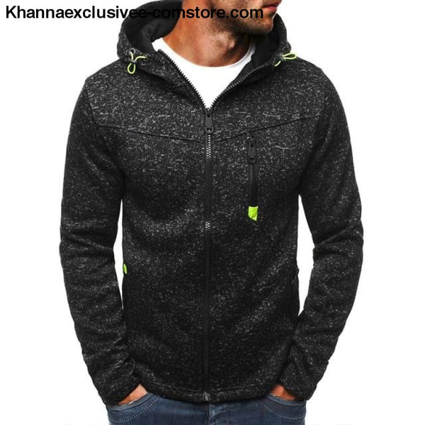 Mens Sports Casual Wear Zipper Jacquard Hoodies Fleece Jacket Sweatshirts warm Coat - Black Gray / S - Mens Sports Casual Wear Zipper