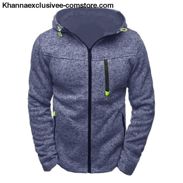 Mens Sports Casual Wear Zipper Jacquard Hoodies Fleece Jacket Sweatshirts warm Coat - Navy Blue / S - Mens Sports Casual Wear Zipper