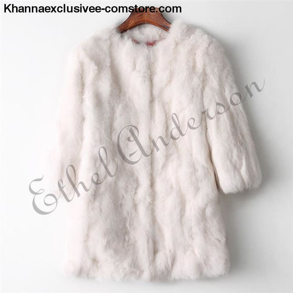 New 100% Real Rabbit Fur Coat Womens O-Neck Long 3/4 Sleeves Vintage Leather Fur Jacket - Beige / XXL Bust 100CM - New 100% Real Rabbit Fur