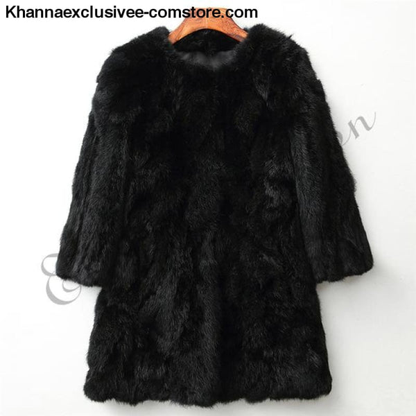 New 100% Real Rabbit Fur Coat Womens O-Neck Long 3/4 Sleeves Vintage Leather Fur Jacket - Black / XXL Bust 100CM - New 100% Real Rabbit Fur