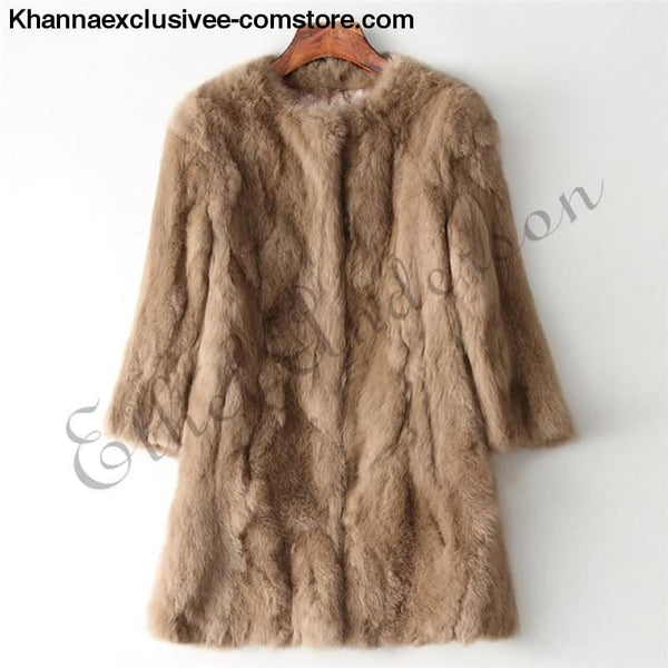New 100% Real Rabbit Fur Coat Womens O-Neck Long 3/4 Sleeves Vintage Leather Fur Jacket - Khaki / XXL Bust 100CM - New 100% Real Rabbit Fur
