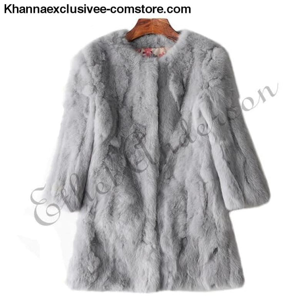 New 100% Real Rabbit Fur Coat Womens O-Neck Long 3/4 Sleeves Vintage Leather Fur Jacket - Light Grey / XXL Bust 100CM - New 100% Real Rabbit