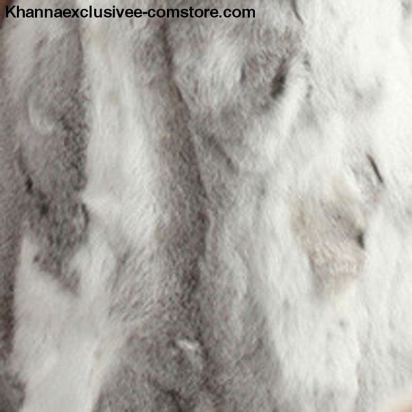 New 100% Real Rabbit Fur Coat Womens O-Neck Long 3/4 Sleeves Vintage Leather Fur Jacket - Natural Gray / XXL Bust 100CM - New 100% Real