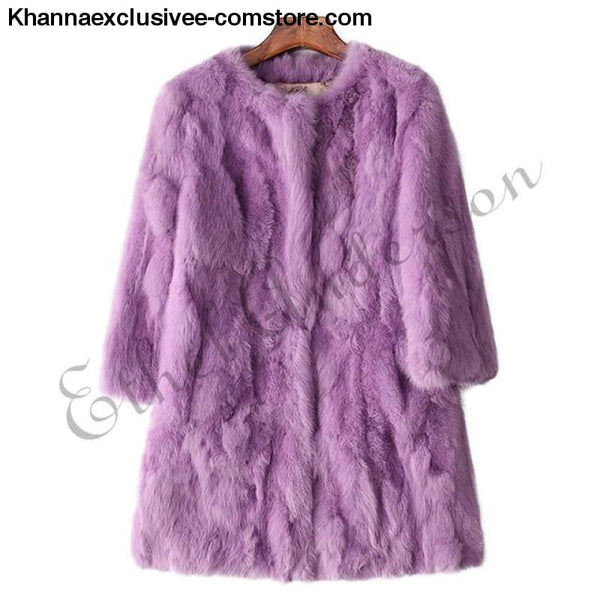 New 100% Real Rabbit Fur Coat Womens O-Neck Long 3/4 Sleeves Vintage Leather Fur Jacket - Purple / XXL Bust 100CM - New 100% Real Rabbit Fur