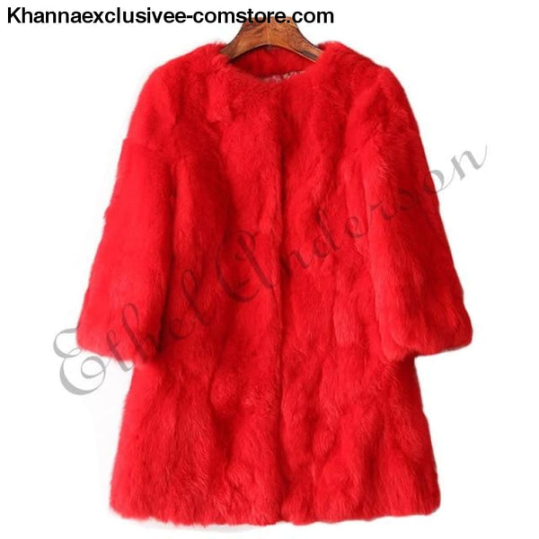 New 100% Real Rabbit Fur Coat Womens O-Neck Long 3/4 Sleeves Vintage Leather Fur Jacket - Red / XXL Bust 100CM - New 100% Real Rabbit Fur